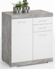 FD Furniture Commode Bristol 2 XL van 90 cm hoog in grijs beton met wit