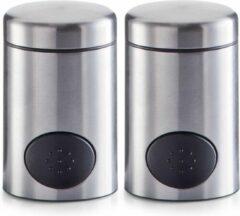 Zilveren 2x Zoetjes dispensers 8,5 cm RVS - Zeller - Keukenbenodigdheden - Koffie/thee drinken - Zoetstof tabletten dispensers - Zoetjes dispensers