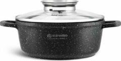 Zwarte EDENBERG Edënbërg Stonetec Line - Luxe Aluminium Kookpan met Deksel - Ø 24 cm