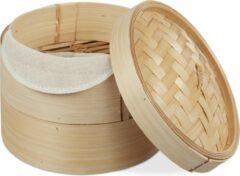 Naturelkleurige Relaxdays stoommandje bamboe - rijst stomer - mandje om te stomen - 2 laags - 20.5 cm