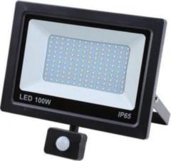 Zwarte Hofftech LED straler 100W - Floodlight + Bewegingssensor - IP-65