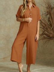 Newchic Casual Short Sleeve Button Lapel Plus Size Jumpsuit