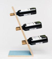 Blauwe Wijnpaal Compact Six Blue Wijnrek - Klein staand flessenrek van hout voor 6 wijnflessen met een uniek en modern design