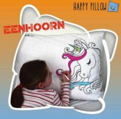 Lichtblauwe Happy Pillow - Eenhoorn kleurplaat op kussensloop inclusief textielstiften