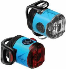 Blauwe Lezyne Femto USB Drive Pair 15F/5R Verlichtingsset - 15 Lumen - Blue