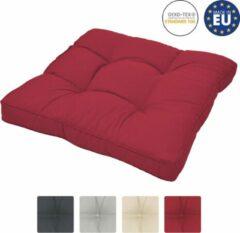 Beautissu loungekussen XLuna – zitkussen rood 50x50 cm kussen in matraskussen kwaliteit
