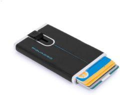 Zwarte Piquadro Blue Square Creditcard Case With Sliding System Black