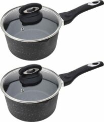 Merkloos / Sans marque 2x Zwarte steelpannen met glazen deksel 18 cm - Keukenbenodigdheden - Kookbenodigdheden - Koken - Pannen - Sauspannen/juspannen - Aluminium steelpannen