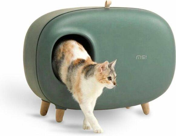 Afbeelding van MakeSure Kattenbak Met Lade - Groen - 60 x 38 x 45 cm - XL/Groot - Design