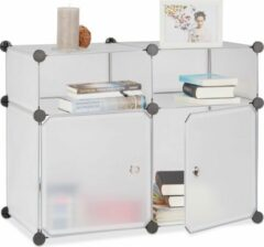 Transparante Relaxdays vakkenkast 4 vakken - kast met 2 deuren - klikverbinding - schoenenrek klein doorzichtig