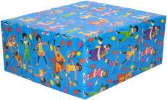 3x Rollen inpakpapier/cadeaupapier Club van Sinterklaas blauw 200 x 70 cm - Cadeaupapier/inpakpapier voor 5 december pakjesavond
