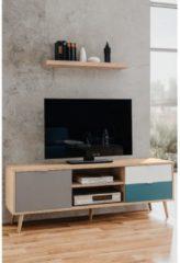 Anders CUBA Scandinavisch tv-meubel eiken, grijs, wit en petrolblauw - L 150 cm