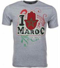 Grijze T-shirt Korte Mouw Mascherano T-shirt I Love Maroc