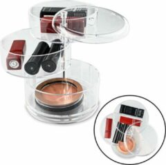 RONDE Make up Organizer met 3 Vakken – Make-up Organizer Transparant - Sieraden Makeup Cosmetica Opbergsysteem - Display Houder voor Lippenstift / Nagellak / Visagie - Make up / Sieraden etc. - Decopatent®