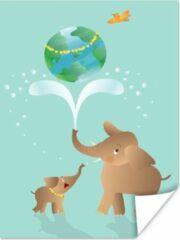 PosterMonkey Een illustratie van twee olifanten waaronder een baby olifant poster 30x40 cm - klein - Foto print op Poster (wanddecoratie woonkamer / slaapkamer) / Wilde dieren Poster