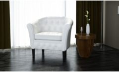 VidaXL - Chesterfield - Fauteuil - Met arm - Wit