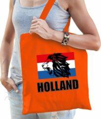 Bellatio Decorations Holland leeuw met vlag katoenen tas/shopper oranje voor dames en heren - Nederland supporter - Koningsdag/ EK/ WK voetbal