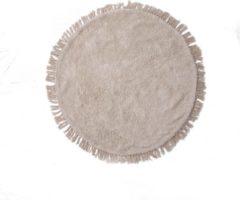 Vloerkleed Rond - ⌀110cm - Beige - Katoen Polyester - Vloerkleed Campeche - Giga Meubel