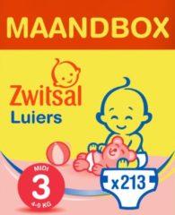 Zwitsal luiers Maandbox Maat 3 (Midi) 4-9 kg Luiers - 213 stuks