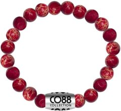 CO88 Collection Elemental 8CB 17015 Rekarmband met Stalen Element - Sediment Natuursteen 6 mm - One-size - Rood