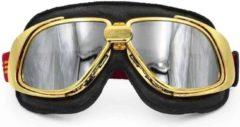 Ediors retro goud, zwart leren motorbril | Zilver reflectie