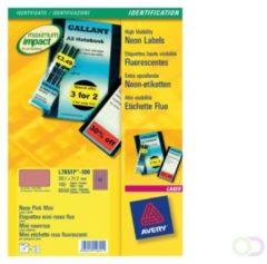 Avery afneembare neon etiketten ft 38,1 x 21,2 mm (b x h), doos van 100 blad, 6500 stuks, neonroze