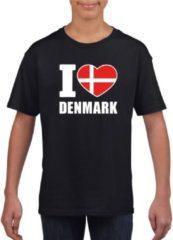 Shoppartners Zwart I love Denmark / Denemarken supporter shirt kinderen - Deens shirt jongens en meisjes L (146-152)