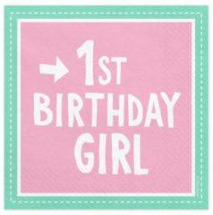 Roze PartyDeco Servetten 1st Birthday Girl, 33x33 cm (1 zakje met 20 stuks)