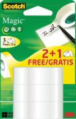 Transparante Scotch Magic plakband formaat 19 mm x 15 m 2 + 1 gratis