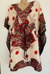 Merkloos / Sans marque Dames kaftan/tuniek met bloemenprint one size 36-48 beige/zwart/rood
