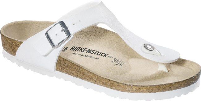Afbeelding van Witte Birkenstock Women's Gizeh Toe-Post Leather Sandals - White - EU 37/UK 4.5 - White