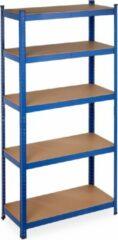 Relaxdays Stellingkast metaal - opbergrek 180x90x40 cm - legbordstelling - blauw - 875 kg