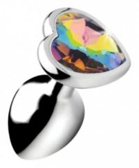 Zilveren Booty Sparks Rainbow Prism Heart Anal Plug - Small - Silver