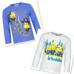 Minions Minion shirt met lange mouw - Set van 3 - blauw+wit+oranje - maat 92/98 (3 jaar)