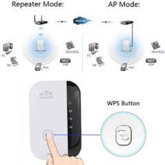 Merkloos / Sans marque Ultraboost Wireless WiFi Versterker Stopcontact + Inclusief Internetkabel - Wifi Signaalversterker - Ethernet - Wireless Range Extender- 300 mbps - 2.4 Ghz – Wit