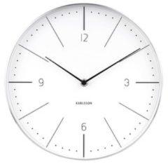 Karlsson Wandklokken Wall Clock Normann Numbers Brushed Case Wit