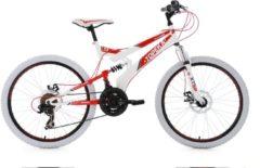 KS Cycling Jugend Fully MTB, 24 Zoll, Shimano Tourney 21 Gang-Kettenschaltung, weiß-rot, »Topeka«