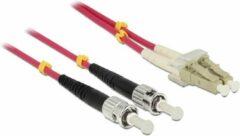 Paarse DeLOCK 84867 Glasvezel kabel 5 m OM4 LC ST Violet