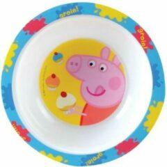 Blauwe Nickelodeon kom Peppa Pig kunststof 16 cm wit
