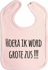 Merkloos / Sans marque Slabbetjes - slabber - baby - Hoera ik word grote zus !!! - stuks 1 - baby roze