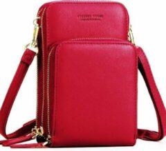 Merkloos / Sans marque Compact Telefoontasje – 3 Compartimenten – Rood – Ideaal Voor op Een Feestje