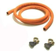 Oranje Bade 2 meter propaanslang met 2 slangklemmen