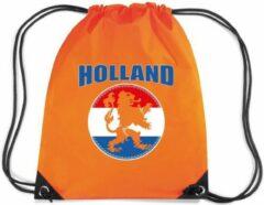Bellatio Decorations Holland oranje leeuw rugzakje - nylon sporttas oranje met rijgkoord - Nederland/oranje supporter - EK/ WK voetbal / Koningsdag