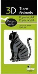 Fridolin 3D puzzel en bouwpakket zwarte kat van karton