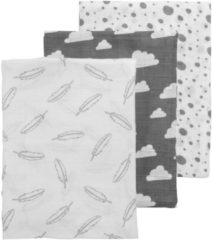 Meyco 3-pack hydrofiele swaddles - Feathers-Clouds-Dots grijs/wit - 120 x 120 cm