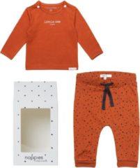 Oranje Noppies Cadeauset (2delig) Biologische Kleding Ginger stip effen shirt - Maat 44