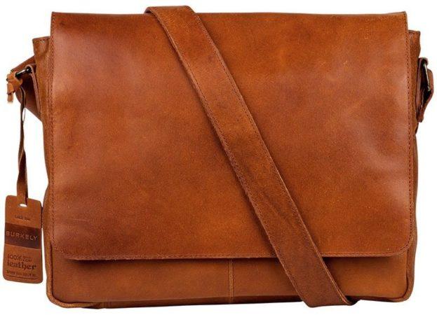 Afbeelding van Oranje BURKELY Vintage Juul Messenger Bag - Schoudertas - Cognac