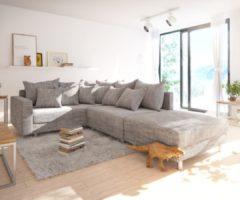 DELIFE Ecksofa Clovis Hellgrau Strukturstoff Hocker Armlehne Ottomane Links Modulsofa, Design Ecksofas, Couch Loft, Modulsofa, modular