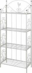 Merkloos / Sans marque Opbergrek plantenrek keukenrek rek met planken etagere wit 153cm