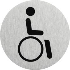 """Zilveren Seilflechter Aluminium deurbordje """" pictogram rolstoel bestuurder """" Ø75mm"""